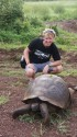 Pete and a wild giant tortoise