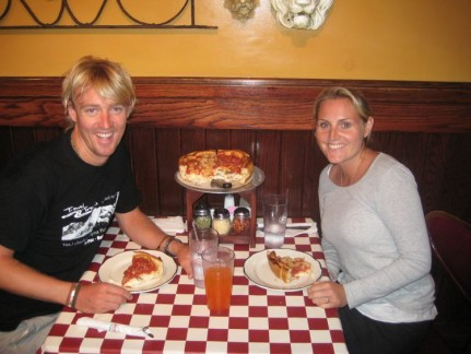 Us and our mountain of a meal. Deep Dish Pizza