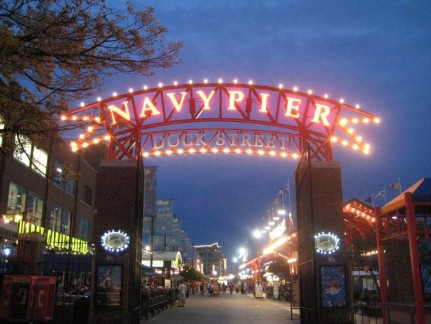 The Navy Pier is a big attraction that is hard to miss.