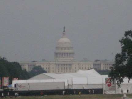 U.S Capitol Building is 2 miles from the Lincoln Memorial, with parkland in between.