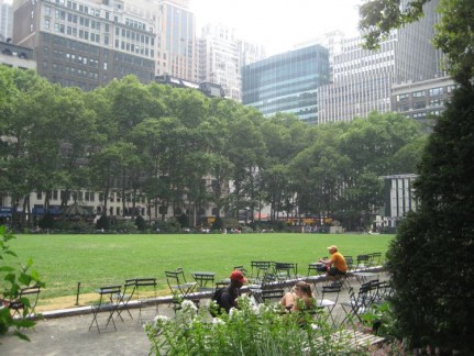 A gorgeous park on the corner of 6th Avenue and 42nd Street