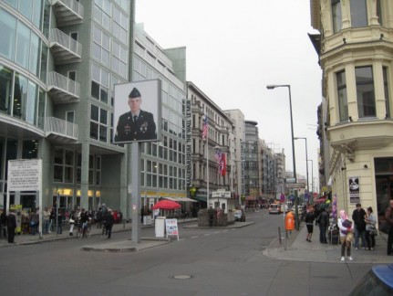The site of what was Checkpoint Charlie. You can get your photo with a mock-up American soldier. Locals think is too much like Disneyland
