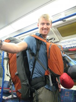 Pete on 'the tube' (London Underground) ready for a stint in Europe....