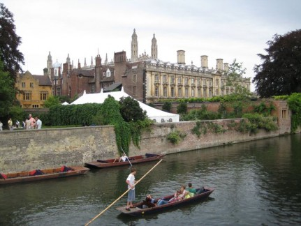 A lazy day of punting. Students earn a few quid taking passengers around Exclusive and beautiful Cambridge University