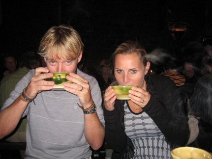 """""""My Lord and My Lady"""" enjoying soup the Medieval Way"""