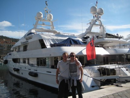 Pete and Nick in front of one of many many amazing boats on the French Riviera
