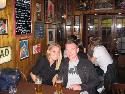 Nick and Liss enjoying a drink in Wayne's bar. Liss is not drinking the beer by the way...