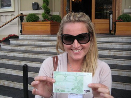 Thank Goodness Lis was there to pull the boys out of their Gambling Debt - a 100 Euros win!