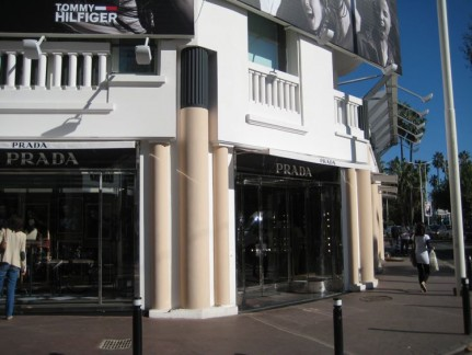 There is a row of fancy shops like this all along main street Cannes. A shoppers Paradise one would think. Not cheap though...