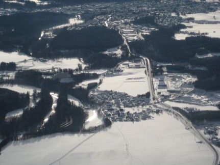 Looking out at Salzburg from our flight
