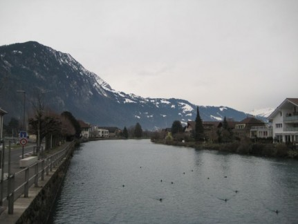 The town of Interlaken is separated by these small rivers