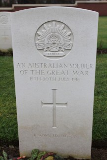 This is a tomb for a Australian soldier who was found but not recognised. There were lots of these gravestones.