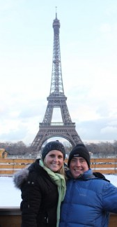 Mike and Elissa in front of the Eiffel tower