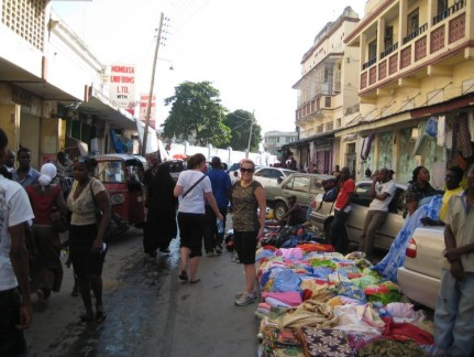 Market stalls in Mombasa