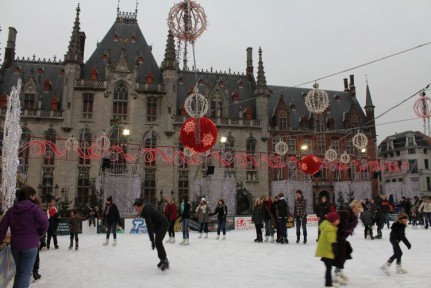 Ice skating in Brugge, typical winters day apparently.