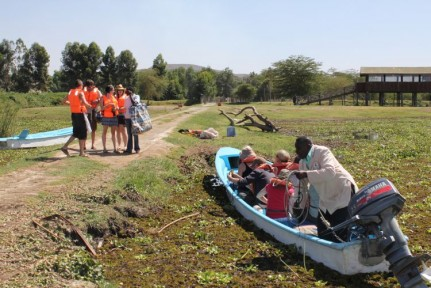 All of us getting ready for our hippo/fish eagle boat ride