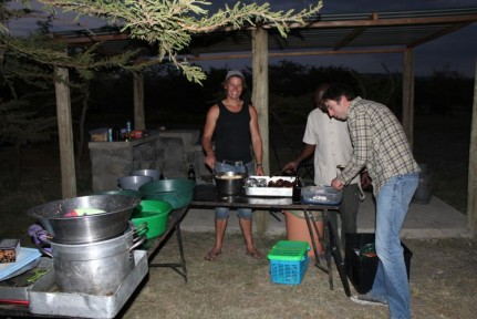 Damo (our fearless tour leader) cooking our bbq dinner at Punta Villas, after our great game drive day.