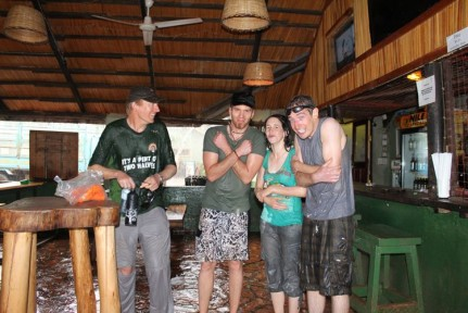 Our crew who returned from a morning of volunteering in the nearby orphanage... All taking place in the terrential rain