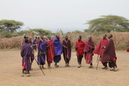 We were welcomed to the Masai Village by the Masai Men who sang and danced for us...