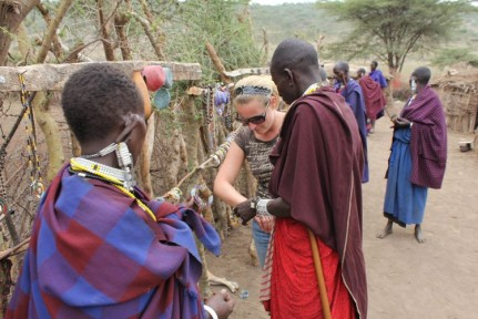 Following the tour of a Masai's House, you are somewhat expected to purchase their jewellery... they place it on your arm and won't let you leave until you pay...