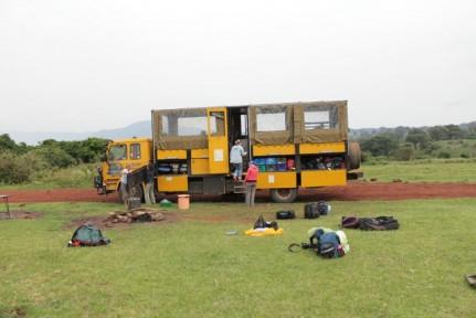 Setting up camp just outside Ngorongoro Crater...