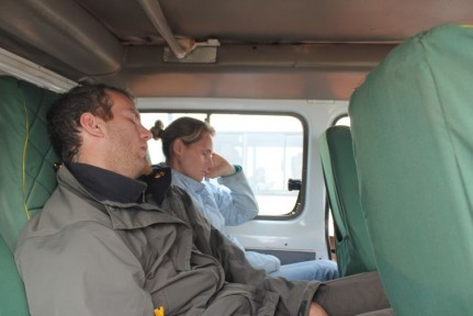 Rainer and Elissa catching a few zzzz's AFTER the Game Drive...