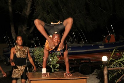 At night the Resorts would occasionally have entertainment... This was an Acrobatic Show at Sunset Bungalows... but mostly it was this guy showing us how he was double-jointed just about everywhere....