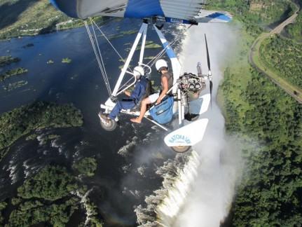 Marlene in her Microlight flight over Victoria Falls.