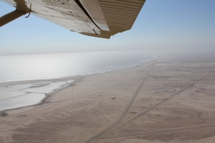 Sensation view from the plane ride of the skeleton coast. Called this because sailors that were stranded along here would certainly die for there is no water for miles.