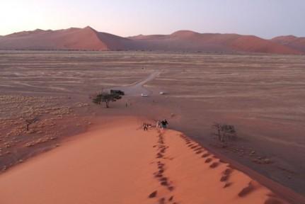 The crew climbing Dune 45