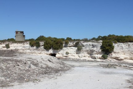 The limestone quarry where Nelson Mandela and his fellow inmates spent many years working in and for the first few years were subjected to mindless tasks without sunglasses. The sun glare was unbearable for us in the few minutes we spent there...