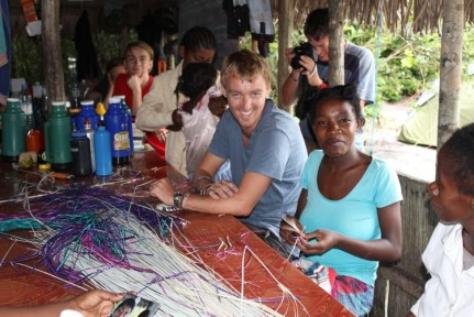 Madame Jaqueline arrived with her 5 daughters and taught us all how to weave bracelets...
