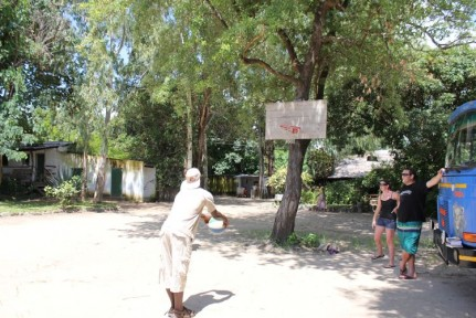 Dom (our amazing cook) shooting hoops