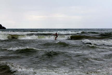 Pete's first ever surf in a LAKE!!!!!