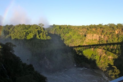 The view of the falls from the bridge between Zim and Zam border posts.