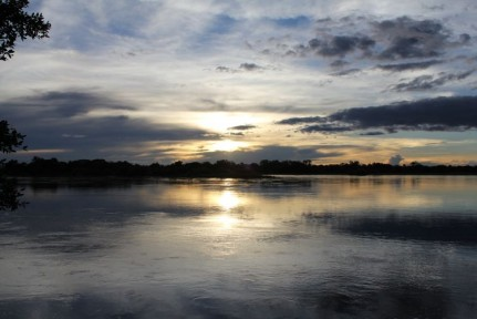 The sunset over the Kavango River.