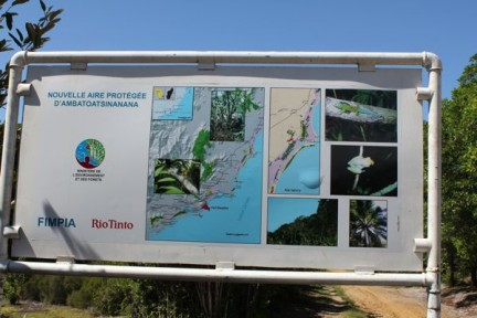 The billboard for Rio Tinto, displaying their current mining projects in the area and their proposed mining sites - THE VILLAGE/FOREST WHERE WE LIVED.