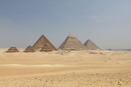 The 6 pyramids of Giza. The city of Giza is to the right of the pyramids and is a huge city. Don't expect a remote desert visit to see the pyramids, its a big tourist operation.