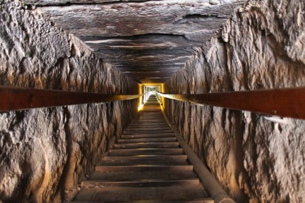 The tunnel down the pyramid of Dahshour. 110 metres down and you can take photos inside here.
