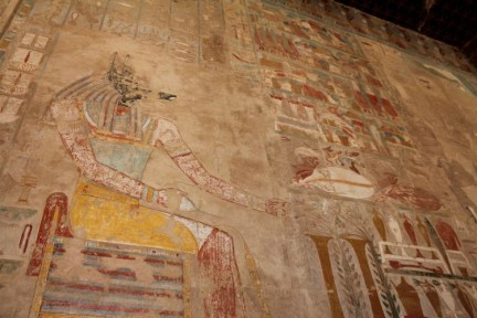 This is the sort of artwork that was found in the tombs of pharoahs. Although you can't take photos in the tombs, we were able to photograph this artwork at the Temple of Hatshepsut...