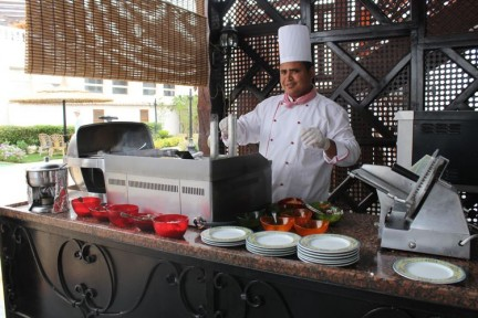 Our buffet breakfast included fresh breads, cereals, salads, fruits, cakes, and a chef that would prepare fresh omelettes and crepes on request...