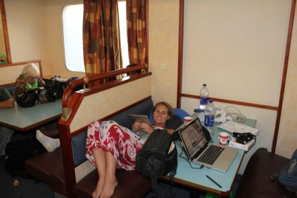 Settling in for the 4 hour ferry ride...