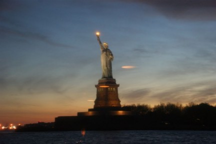 Spectacular views of the Statue of Liberty from our boat...