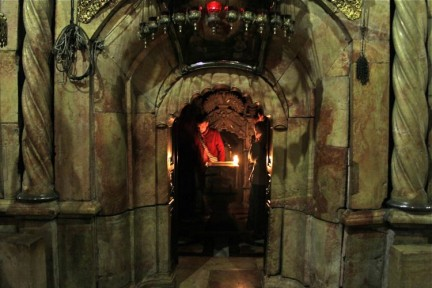 The entrance to Jesus' tomb....