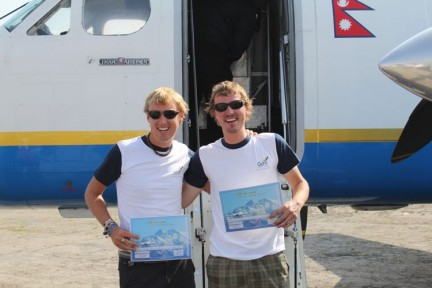 Tim and I. proudly holding our certificate acknowledging that we flew to Everest and back. Been there, done that, bought the tshirt, next!!!!