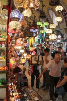 These ornate light fittings are sold en mass in the Grand Bazaar...