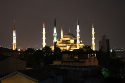 The view of the Mosque from our hotel at night was just incredible...
