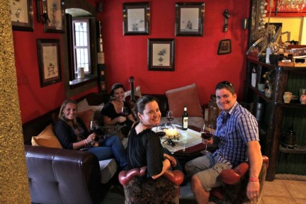<p>Andy, Nic, Liss and Katherine at this really cool wine bar we found in Hvar.</p>