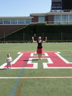 Carl took us on a tour of Harvard - Leone's got into the spirit...
