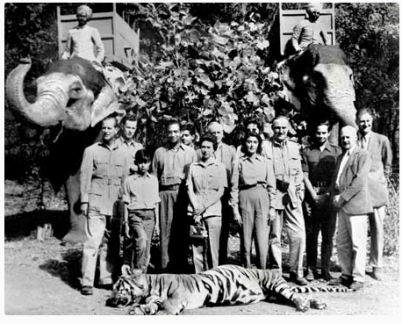 Queen Elizabeth with her hunting party in Ranthambhore National Park.